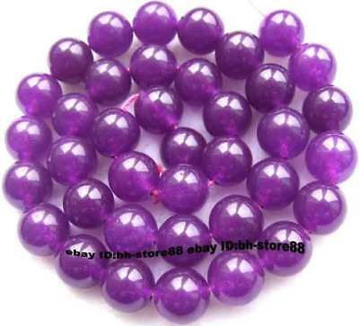 10mm Purple Jade Round gemstone Beads 15''
