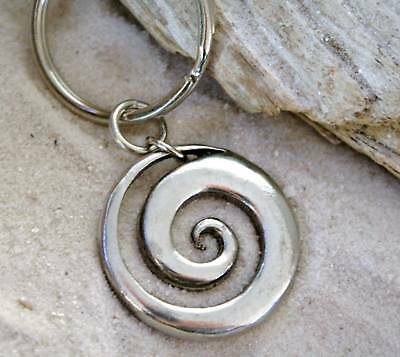 CELTIC SPIRAL SWIRL SUN Pewter KEYCHAIN Key Ring