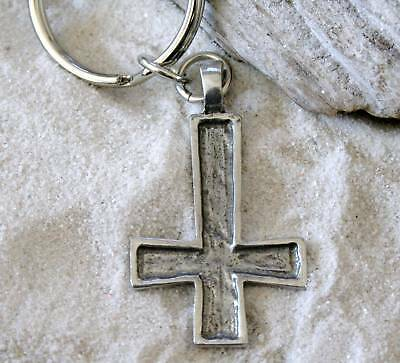 INVERTED ST PETERS CROSS Pewter KEYCHAIN Key Ring