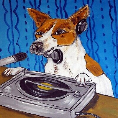 JAck Russell Terrier  DJ animal dog art tile coaster gifts hip hop artwork