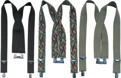"Heavy Duty 2"" Thick Suspenders X-Back Clip Adjustable Elastic Military Work"