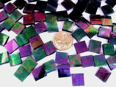 50 Iridised Purple 1cm x 1cm MOSAIC STAINED GLASS TILES crafts