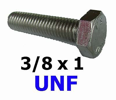 3/8 x 1 UNF Stainless Hex Bolts / Set Screws 3/8-24 x 1 UNF (9/16AF) x5