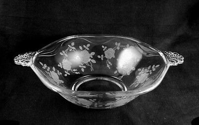 Elegant Fostoria Glass CORSAGE Etched Bowl Flared 12in- FEDEX SHIPPING!