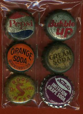 6 Diff  Soda Bottle Caps- Cork Back -Dr. Swett's Pepsi