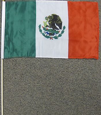 """Mexico Flag 12X18 12"""" X 18"""" Mexican Wood Stick New W9"""