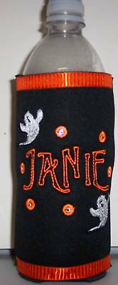 PERSONALIZED EMBROIDERED Koozie Can Cover for HALLOWEEN!!