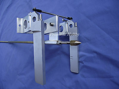 """aluminum dual rudder with strut and 1/4"""" prop shaft flex cable set for rc boat"""