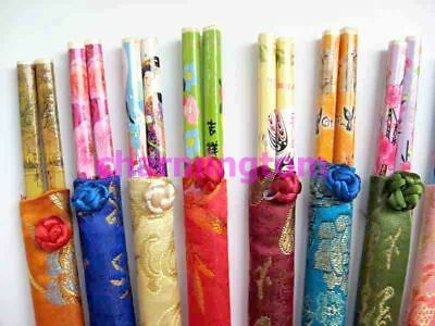 WHOLESALE 50 pcs BAMBOO CHOPSTICKS MATCHING SILK COVER