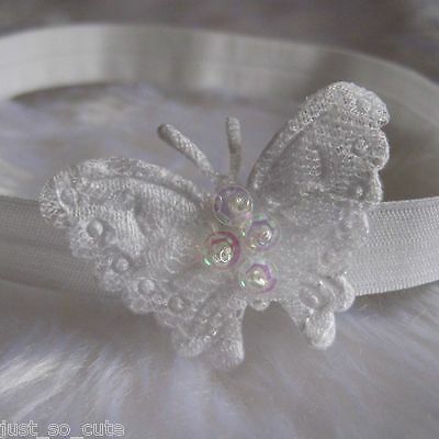 Baby Headband Hair band White Lace Butterfly Christening Baptism Wedding Party