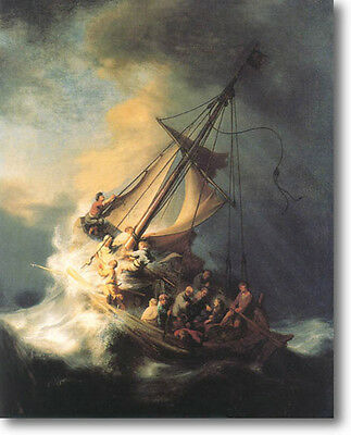 REMBRANDT Storm on the Sea of Galilee STRETCHED Canvas Giclee Art Print  4 FOOT