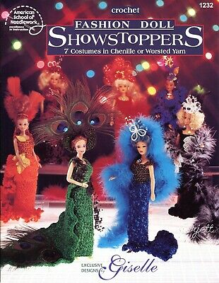 Fashion Doll Showstoppers ~ 7 Costumes crochet patterns fit Barbie fashion dolls