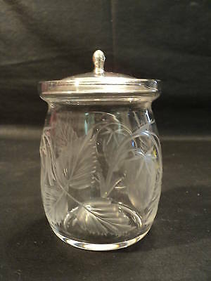 BEAUTIFUL ENGRAVED GLASS MARMALADE JAR w/ STERLING TOP