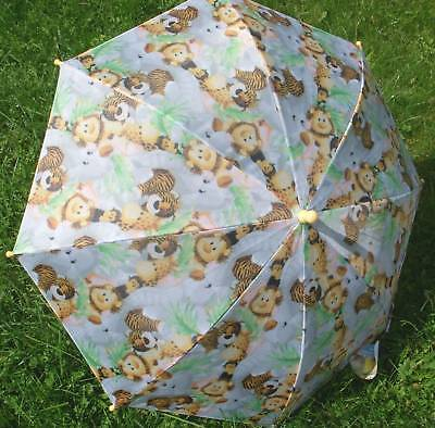 "ZOO Animals Rain Sun 34"" Arc KIDS Umbrella NEW White"