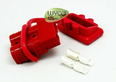 SMALL RED DUST COVER SET ANDERSON PLUG WITH #10//12 GAUGE CONTACTS 50AMP