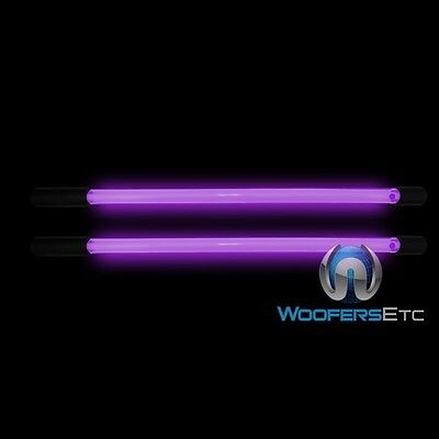 "2 NEON PURPLE 10"" INCH BRIGHT 12 VOLT CAR LIGHT GLOW TUBE BARS PAIR NEW"