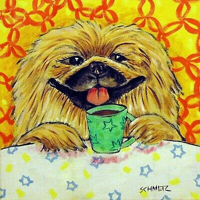 pekingese at a coffee shop animal dog art tile  coaster