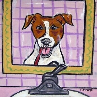 jack russell terrier brushing teeth dog art tile gift gifts coasters