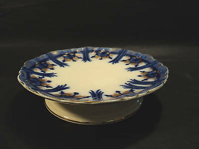 """Antique Burleigh """"clairmont""""  Flow Blue Ped. Cake Stand"""
