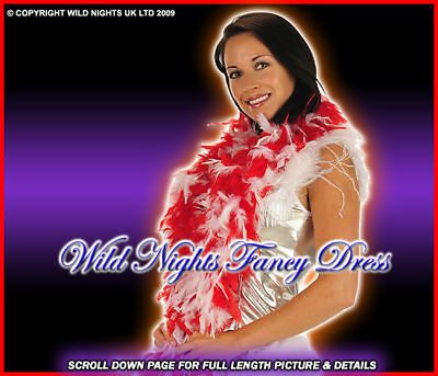 Fancy Dress Accessories Dlx Red / White Feather Boa