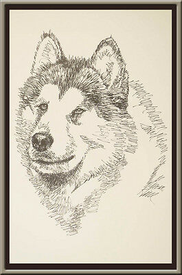 Alaskan Malamute Dog Art Portrait Print #93 Kline adds your dogs name free. GIFT