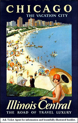 Chicago Travel Poster 1929 Illinois Central Railroad #1