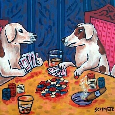 jack russell terrier playing poker gambling dog art tile coaster gift gifts