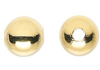 100 Gold Plated Brass 5mm Smooth Round Metal Beads