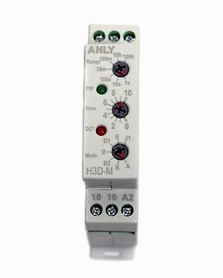1pc Industrial DIN Timer H3D-M AC/DC 12~240Vin 1S~100Hr ANLY Taiwan