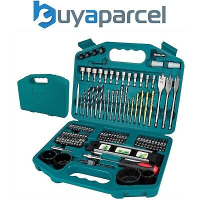 Makita 100 Piece Power Drill Bit Set Screwdriver Set - Holesaw Masonry HSS PZ2 +