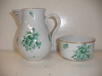 HEREND CHINESE GREEN FLOWERS BOUQUET CREAMER BOWL