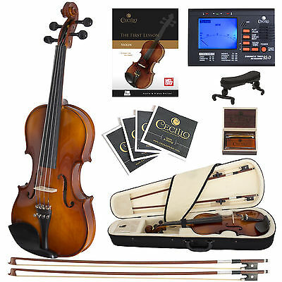 Cecilio Size 1/4 Ebony Fitted Orchestra Violin +Book/Video+Tuner ~1/4CVN-300