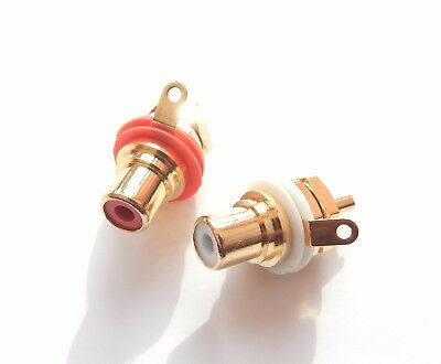 Neutrik NYS367 red & white female chassis RCA socket Rean Professional Solder