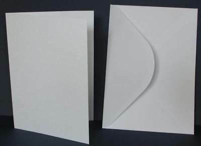 25 A5 Linen White Cards & Plain C5 Envelopes For Wedding Invitations Card Making