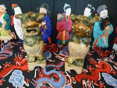 Pair of Beautiful Pottery Foo Dog Bookend/Statues