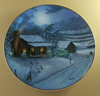 LONG WINTER'S NIGHT Plate American Christmas LOG CABIN Snowy Evening Charming!