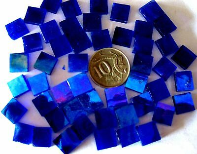 50 Iridised Dark BLUE Mosaic Tiles 1cm x 1cm Arts Crafts