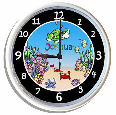PERSONALISED Wall Clock UNDER THE SEA DESIGN 25cm