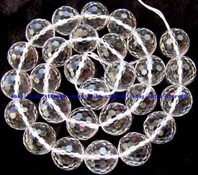 AAA Natural Clear Rock Crystal Quartz 14mm Round 128 Faceted Beads 15''