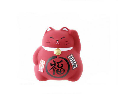 Tirelire chat japonais rouge en ceramique Made in Japan Maneki Neko Top  2125SL