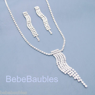 Crystal Necklace Set Wedding Bridal Formal Bridesmaid Gift Jewelry Silver Sp #66