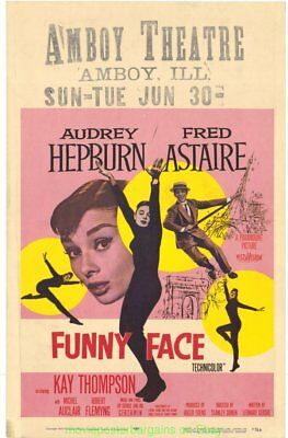 FUNNY FACE MOVIE POSTER AUDREY HEPBURN FRED ASTAIRE  14x22 Inch 1957 WINDOW CARD