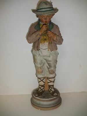 Antique Austrian Terra Cotta Boy Figurine  Polychrome