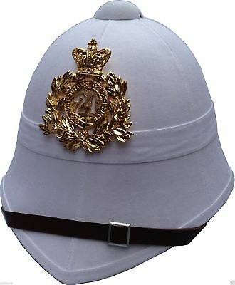 24th Regiment White Army Pith Helmet With Badge Plate British Boer Zulu War New