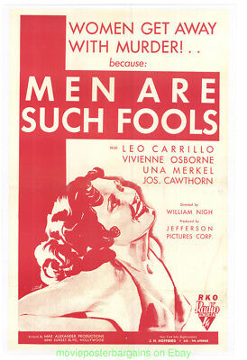 Men Are Such Fools 1932 Movie Poster Linenbacked Vf