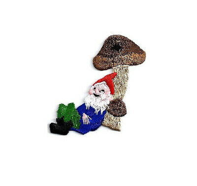Gnome Relaxing On Mushroom Embroidered Iron On Applique Patch