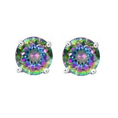 Round Cut CZ Rainbow Peacock Multi-color Topaz Sterling Silver Stud Earrings