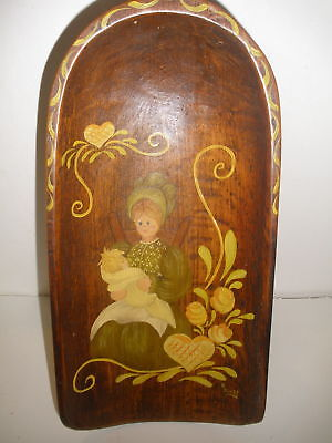 Antique Folk Art Wood Scoop Dutch Painted Mother Child