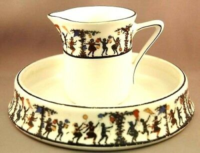 RARE Czechoslovakia Cereal Bowl & Milk Jug w/Silhouette Children Decoration