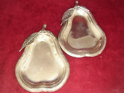 Set Of Two Silver Pear Dishes Weighing 108 Grams